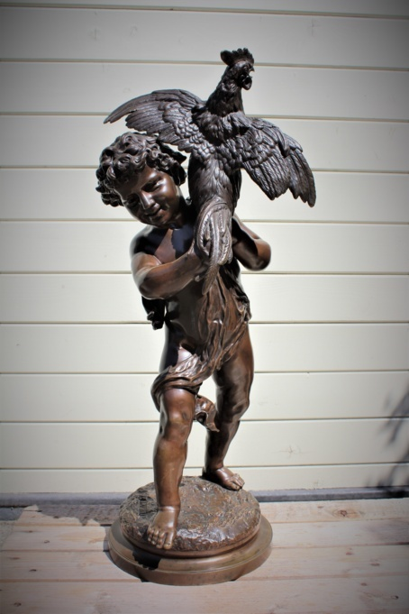 "Emile LAPORTE (1858-1907) bronze statue signed and titled: "" Young boy with a"