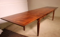 French 19 century extending table Louis XVI style legs in cherry wood