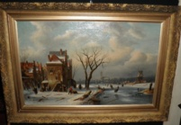'Winter in Holland' Ch.Leickert 1818-1907