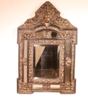Dutch Brass repousse cushion mirror
