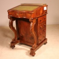 19 century burr walnut carved davenport