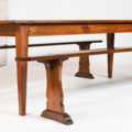 19 century french table in chestnut Louis style feet with two benches