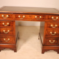 a fine mahogany and walnut pedestal desk 19 century