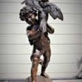 """Emile LAPORTE (1858-1907) bronze statue signed and titled: """" Young boy with a"""